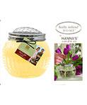 11oz Garden Scents Soy Candle w/ Decorative Floral Arranger Lid – Honeysuckle Fragrance