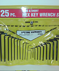 25 pc Long & Short Hex Key Wrench Set by KC Professional