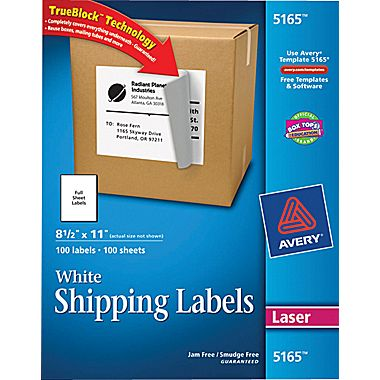 Large Mailing Labels Avery® 5165 White Laser Full Sheet Shipping Labels With Trueblock .