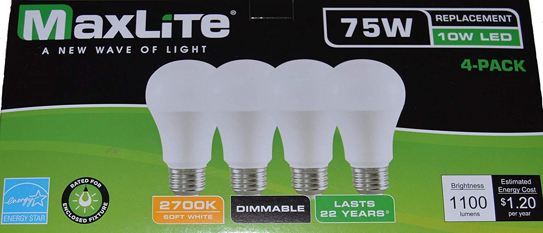 Maxlite soft white led a19 light bulbs 75w or 100w pack of 4